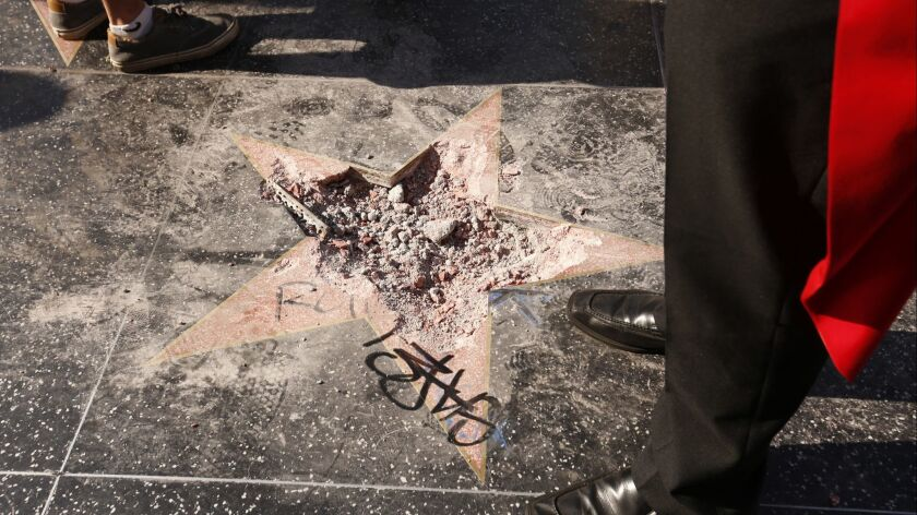 Donald Trump's star on the Hollywood Walk of Fame after was vandalized Wednesday morning.