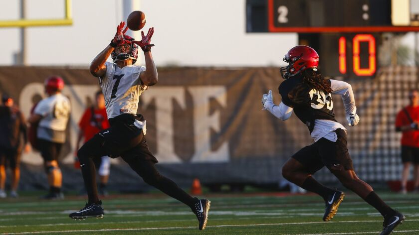 San Diego State wide receiver Fred Travillion, who switched this season from No. 89 to No. 7, hauls in a pass in front of safety Dwayne Johnson Jr. during a recent practice.