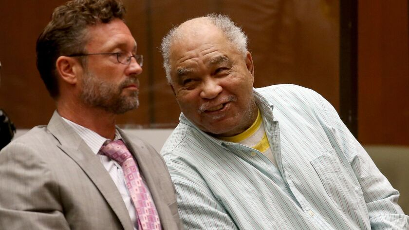 LOS ANGELES, CLIF. - SEP. 2, 2014. Samuel Little, right, appears unfazed after being convicted on th