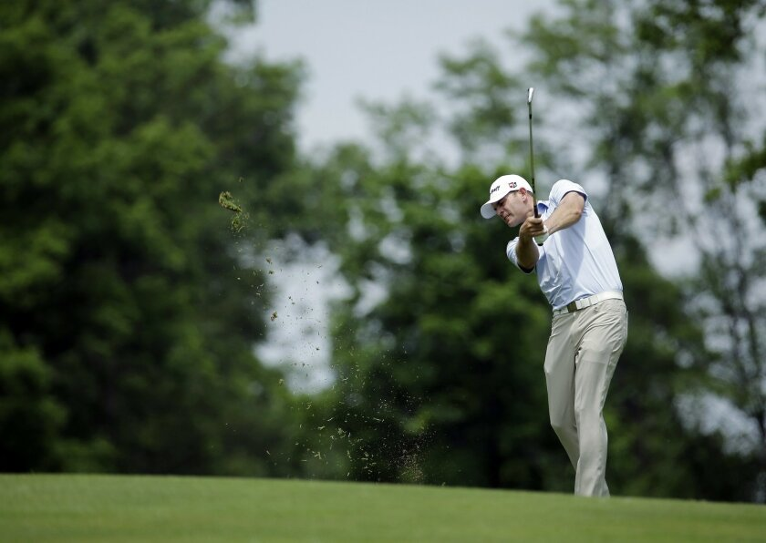 Brendan Steele hits from the ninth fairway during the first round of the Memorial golf tournament, Thursday, June 2, 2016, in Dublin, Ohio. (AP Photo/Darron Cummings)