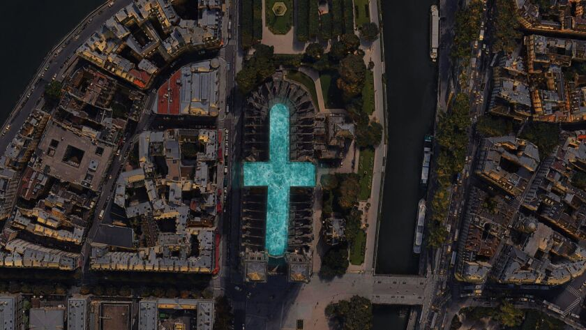 (FILES) This file photo taken on July 14, 2017, shows an aerial view of Notre-Dame Cathedral in Pari