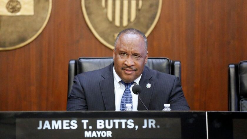 Mayor James T. Butts holds a special city council meeting at City Hall in Inglewood on July 21. The
