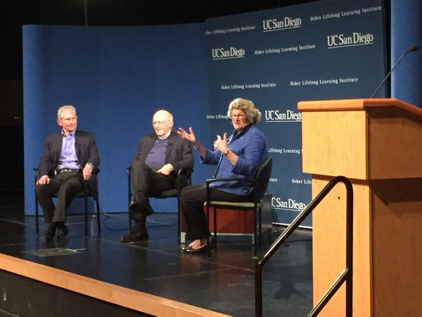 Morton Shaevitz, Ken Blanchard and Mary Walshok discuss new models of aging at a UCSD forum.