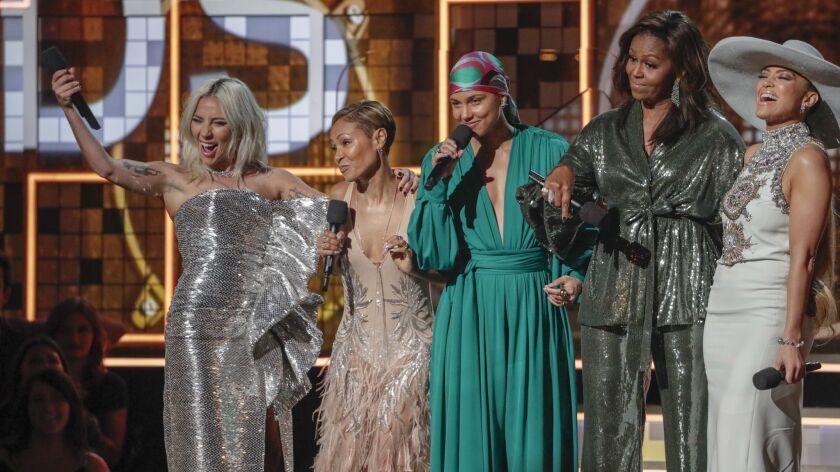 LOS ANGELES, CA - February 10, 2019 (L-R) Alicia Keys, Lady Gaga, Jada Pinkett Smith, Michelle Obama