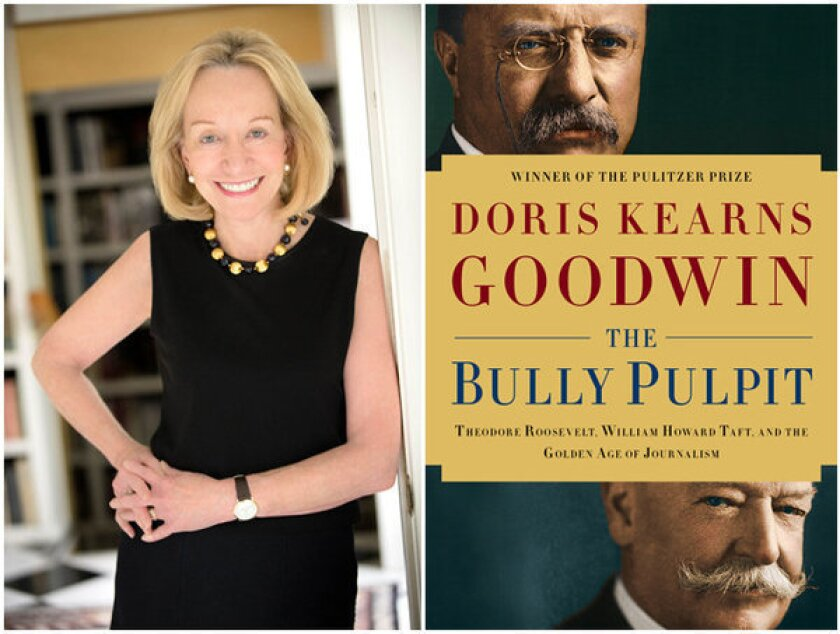 """Author Doris Kearns Goodwin and the cover of """"The Bully Pulpit."""""""