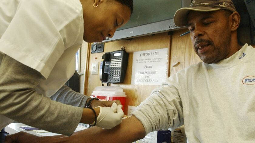 Howard Dublin has blood drawn for a prostate cancer screening test.