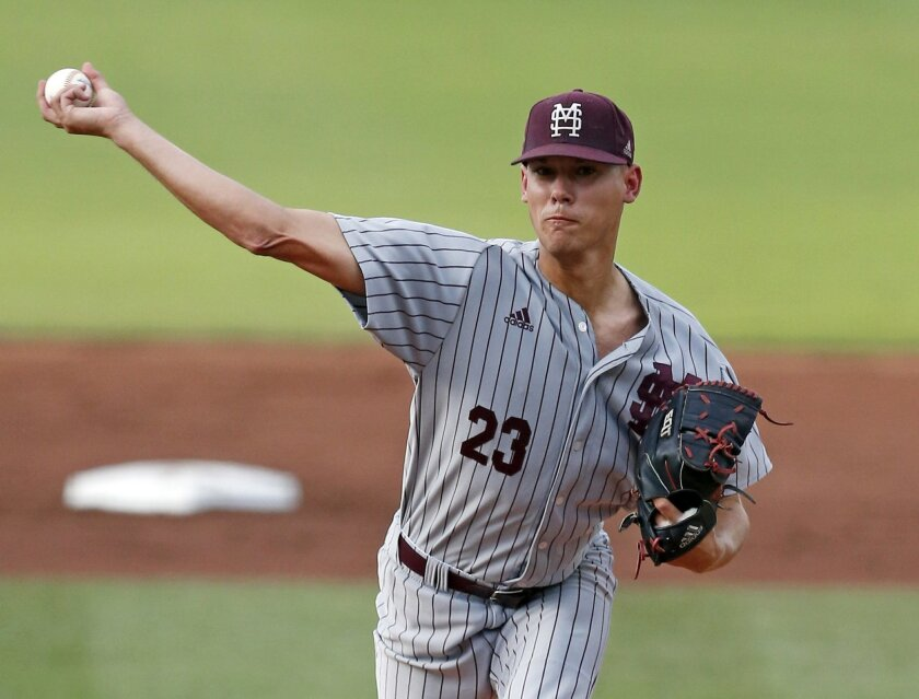 Mississippi State pitcher Austin Sexton (23) pitches against Cal State Fullerton during an NCAA college regional baseball tournament game in Starkville, Miss., Saturday, June 4, 2016. (AP Photo/Rogelio V. Solis)