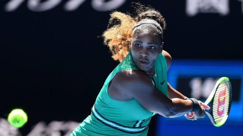 Serena Williams of the United States in action against Dayana Yastremska of the Ukraine on Day 6 of the Australian Open Grand Slam tennis tournament in Melbourne, Australia.