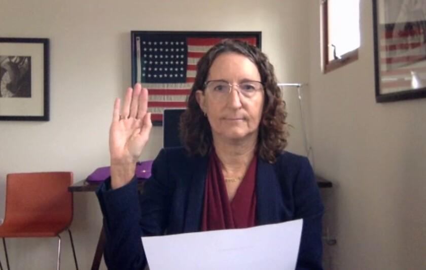 Dana Friehauf was sworn into the Santa Fe Irrigation District board over Zoom on Dec. 17.