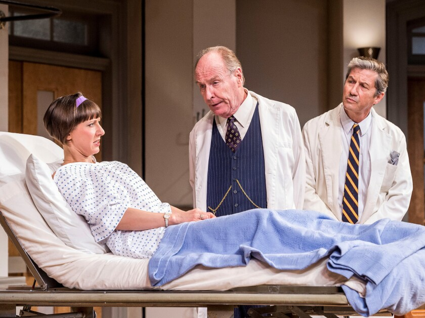 "Sarah Manton, Paxton Whitehead, center, and Charles Shaughnessy in ""What the Butler Saw."""