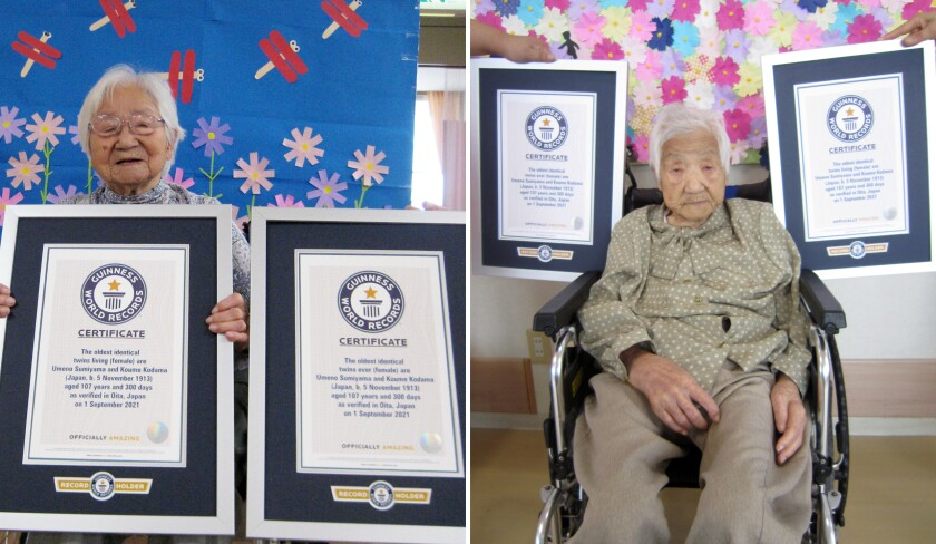 This combination of two undated photos released by Guinness World Records on Tuesday, Sept. 21, 2021, show sisters Umeno Sumiyama, left, and Koume Kodama at separate nursing homes in Shodoshima island, left, and Oita prefecture, Japan. The two Japanese twin sisters have been certified by Guinness World Records as the world's oldest living identical twins, aged 107 years and 300 days as of Sept. 1, 2021, the organization said Monday, Sept. 20, 2021. (Guinness World Records via AP)