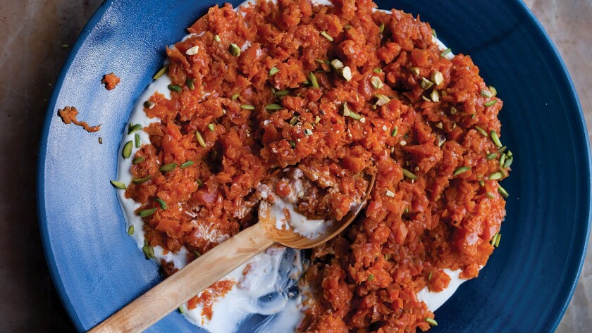 Crushed carrots with harissa and pistachios