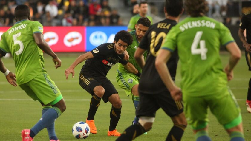 LOS ANGELES, CA - APRIL 29, 2018 - LAFC Omar Gaber tries to control the ball against the Seattle Sou