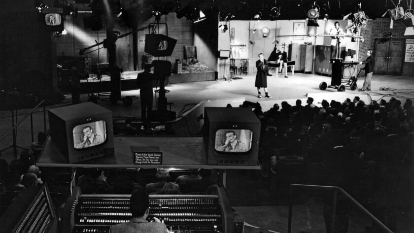 Televsion production at CBS Television City in Los Angeles. 1952 photo. This photo appeared in the J
