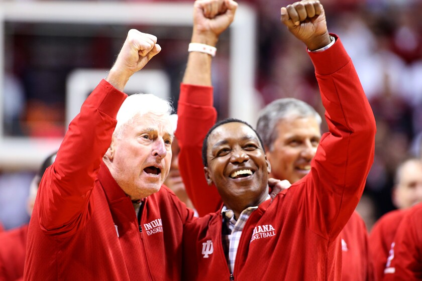 Former Indiana coach Bob Knight and Isiah Thomas acknowledge the crowd at the Hoosiers' game against Purdue on Feb. 8, 2020.