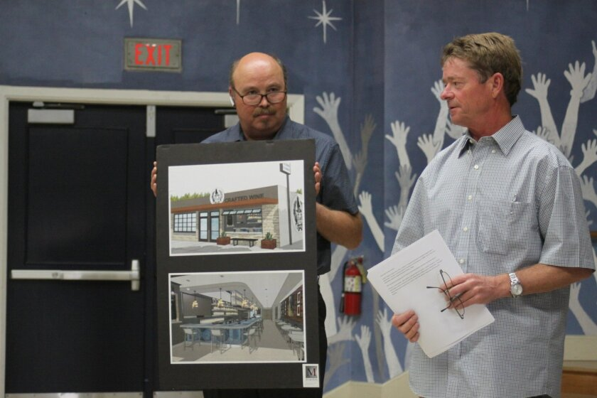 Winemaker Lowell Jooste (right) presents his plans for LJ Crafted Wines, set to open in July at 5621 La Jolla Blvd. with architect Michael Morton.