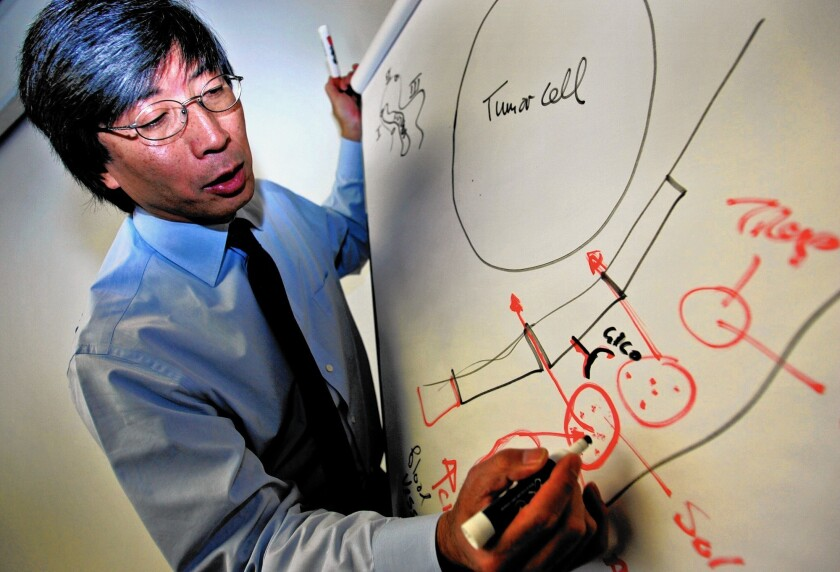 Dr. Patrick Soon-Shiong, who leads healthcare data firm NantHealth and NantKwest, a developer of cancer therapies, draws an illustration about tumor cells and how they react to cancer treatment.
