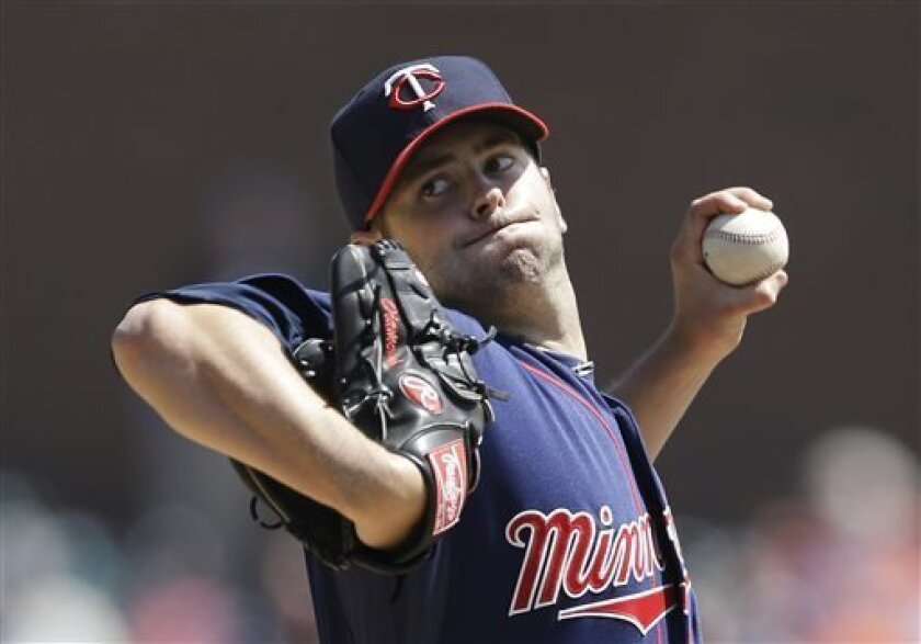 Minnesota Twins starting pitcher Scott Diamond throws during the sixth inning of a baseball game against the Detroit Tigers in Detroit, Wednesday, May 1, 2013. (AP Photo/Carlos Osorio)