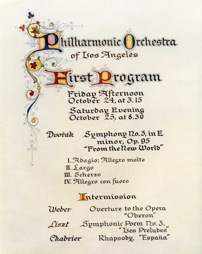 Los Angeles Philharmonic Archives: Illustrated program page for the first Los Angeles Philharmonic c