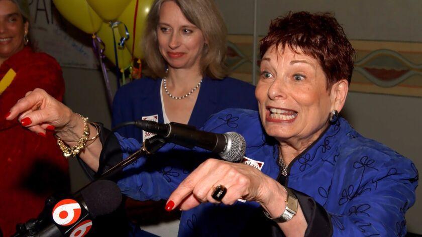 Portland Mayor Vera Katz speaks to her supporters on election night in 2003.