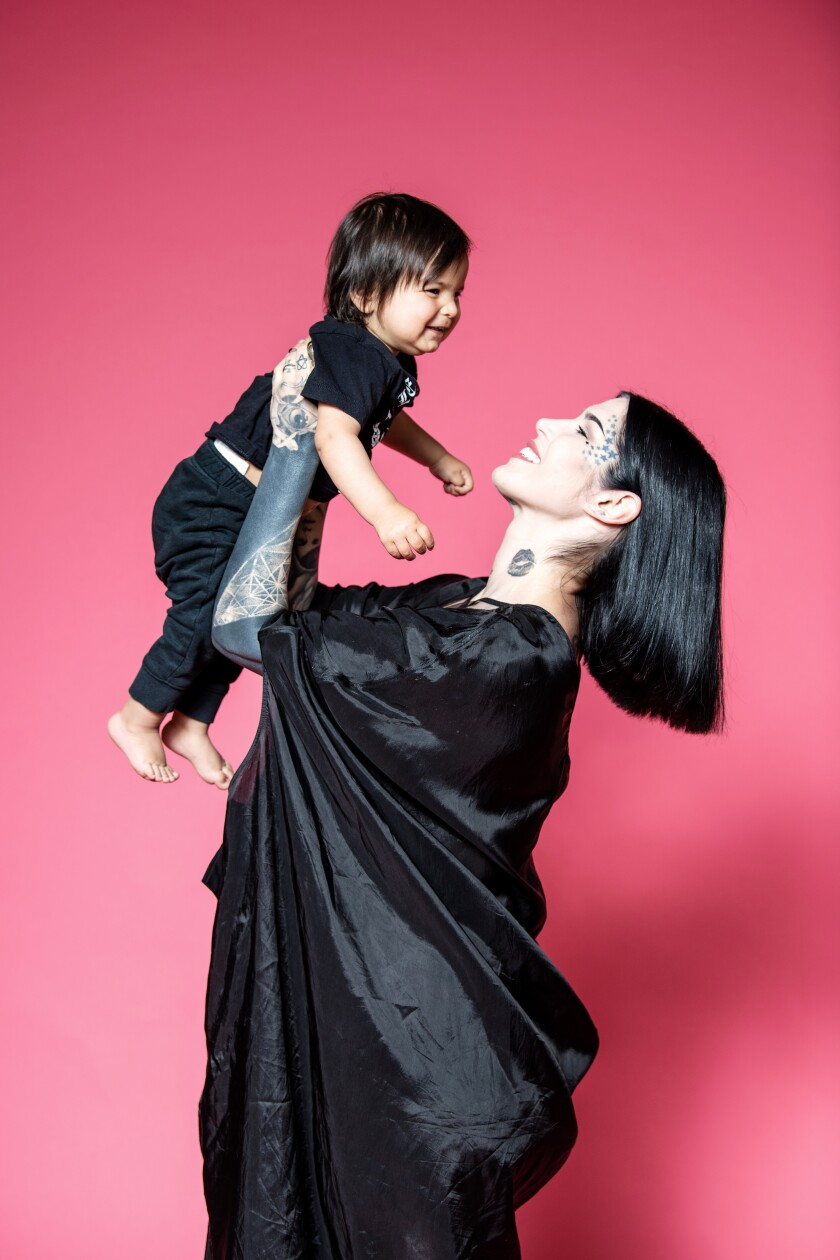 Kat Von D with son Leafar