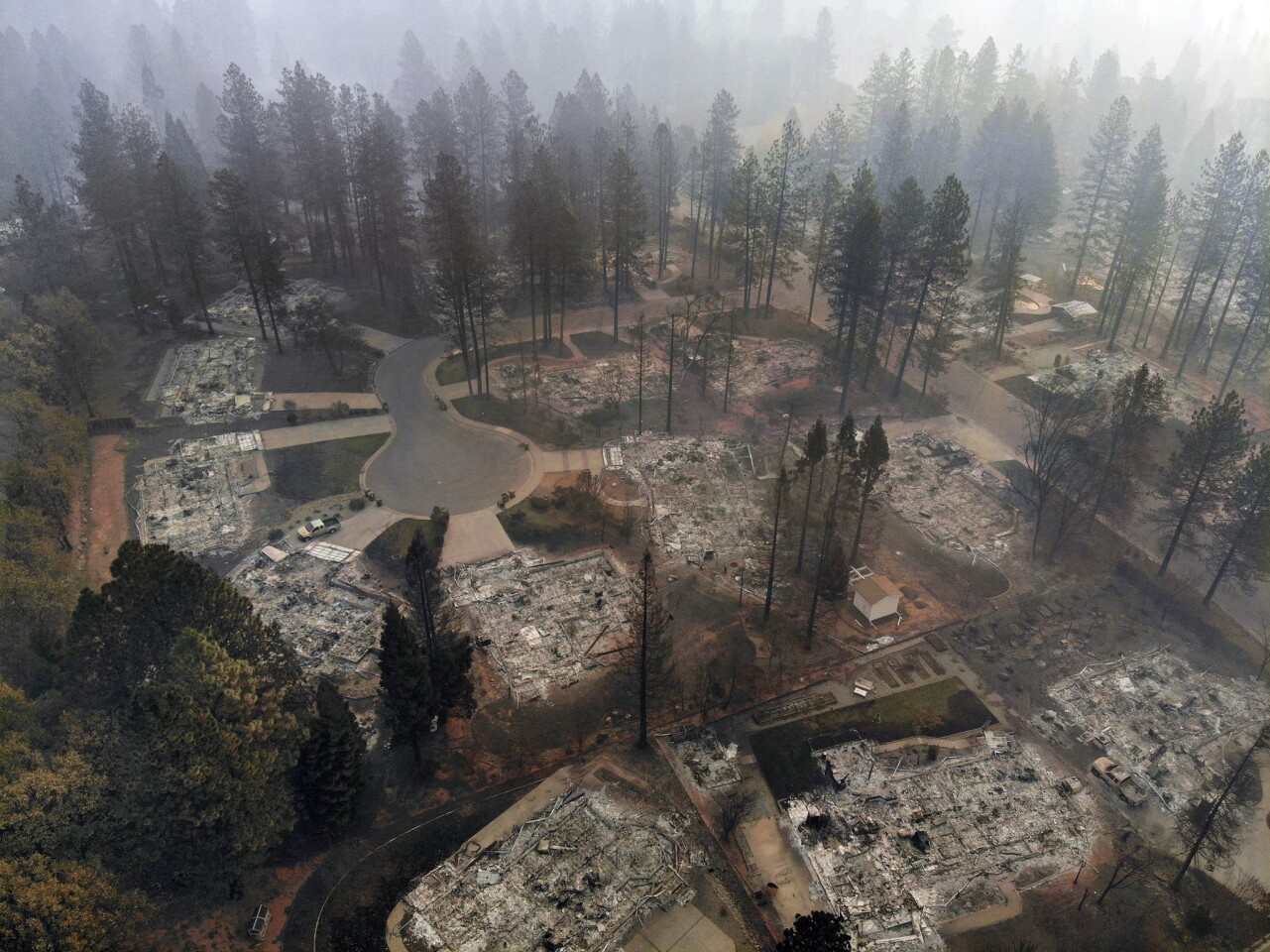 Ariel view of destruction from the Camp fire in Paradise off of Clark Road. The Camp Fire has burned more than 7,000 structures in Paradise.