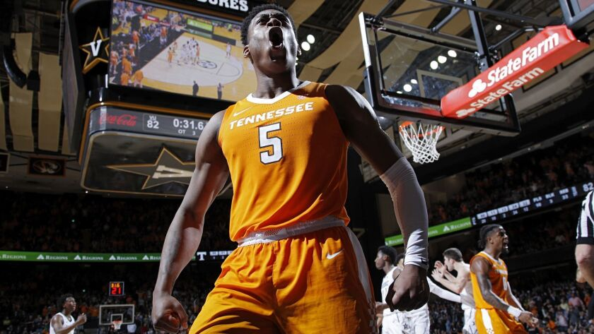 Admiral Schofield (5) of the Tennessee Volunteers reacts in overtime against the Vanderbilt Commodores during the game at Memorial Gym.