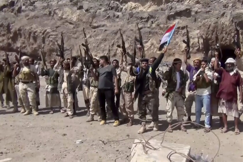 Fighters loyal to the separatist Southern Transitional Council group in Yemen