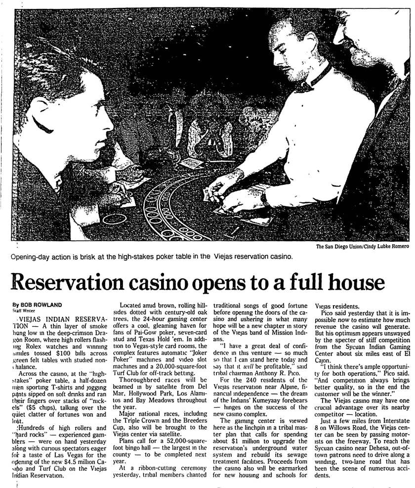 """""""Reservation casino opens to a full house"""" article published in The San Diego Union-Tribune Sept. 14, 1991."""