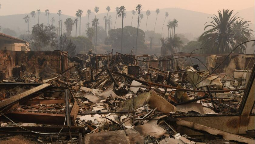 Who pays? Vista del Mar Hospital in Ventura was destroyed by the ferocious Thomas wildfire in December.