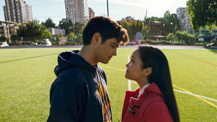 "(L-R) - Noah Centineo and Lana Condor in ""To All the Boys I've Loved Before."" Credit: Awesomeness Fi"