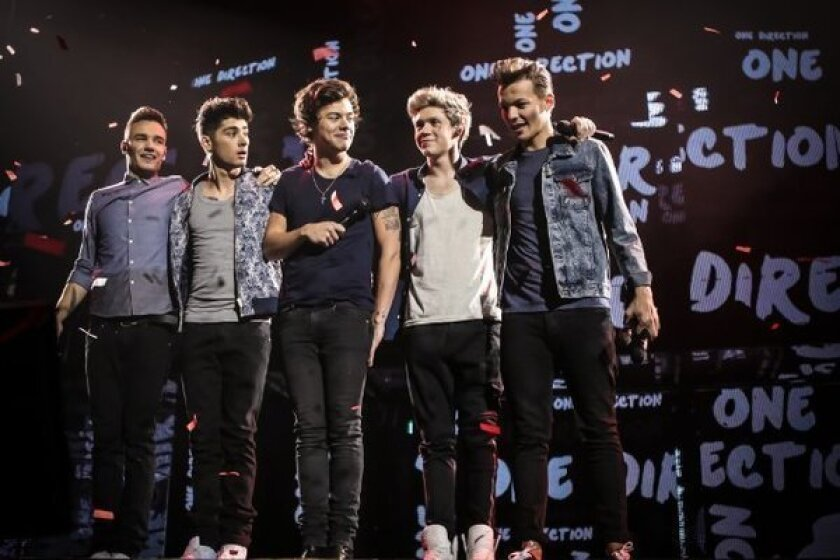 One Direction's Liam Payne, left, Zayn Malik, Harry Styles, Niall Horan and Louis Tomlinson