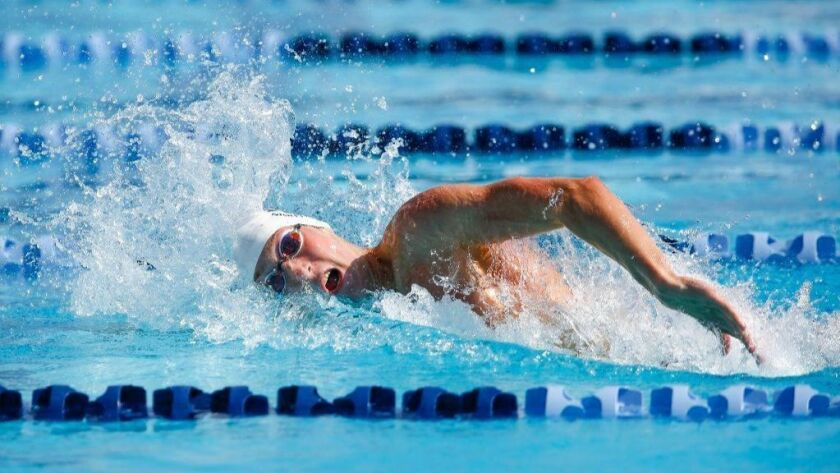 Del Norte's Jacob Sauter swims the 200 yard freestyle during Division 2 Prelims on Thursday.