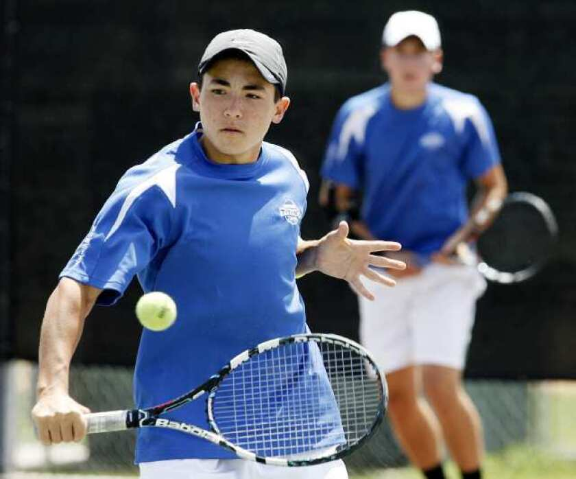 San Marino High's Daniel Gealer, left, and Robert Carter won the Rio Hondo League Individual Tournament doubles championship for the second year in a row.