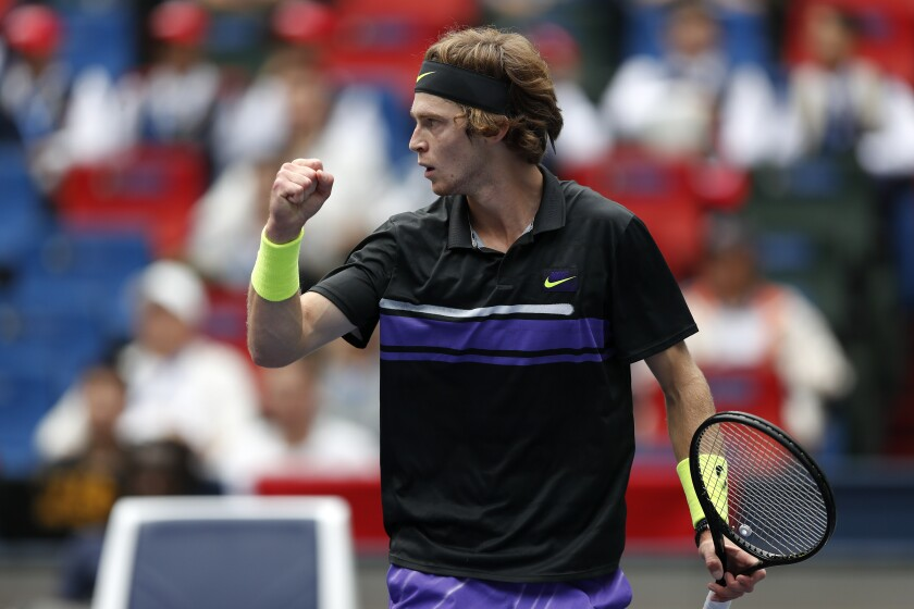 Andrey Rublev, of Russia reacts as he plays against Borna Coric of Croatia in their men's singles match at the Shanghai Masters tennis tournament at Qizhong Forest Sports City Tennis Center in Shanghai, China Tuesday, Oct. 8, 2019. (AP Photo/Andy Wong)