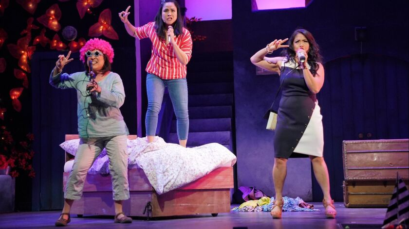 "Elvira Barjau, left, Joan Almedilla and Anthea Neri in East West Players' current production of ""Mamma Mia!"""