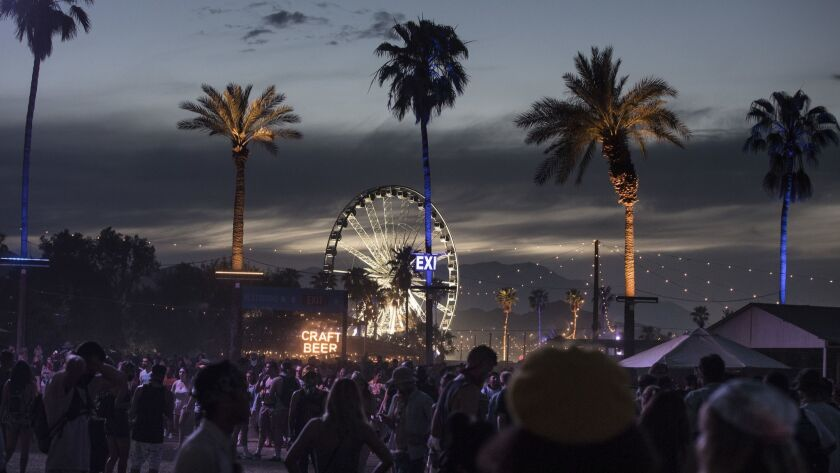 The sun sets on the final day of the first weekend of the Coachella Valley Music and Arts Festival in Indio.