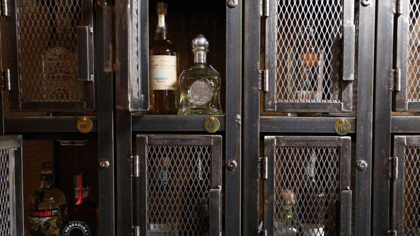 A VIP tequila storage locker at Volcano Rabbit in the Gaslamp Quarter.