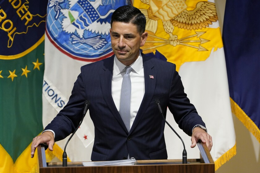 Department of Homeland Security Acting Secretary Chad Wolf speaks during an event at DHS headquarters in Washington, Wednesday, Sept. 9, 2020. (AP Photo/Susan Walsh)