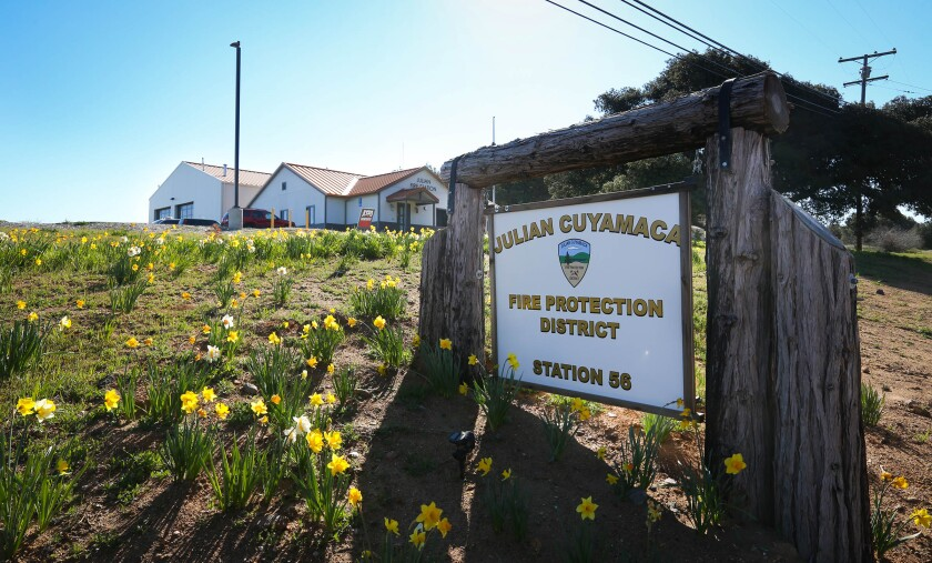 The Julian-Cuyamaca Fire Protection District Station 56 on Highway 79. A lawsuit is pending that may determine the fate of the fire protection district.