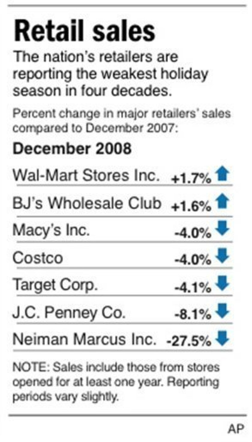 Chart shows the same-store sales of selected retailers compared to the same period last year; 1 c x 3 3/8 in; 46.5 mm x 85.725 mm