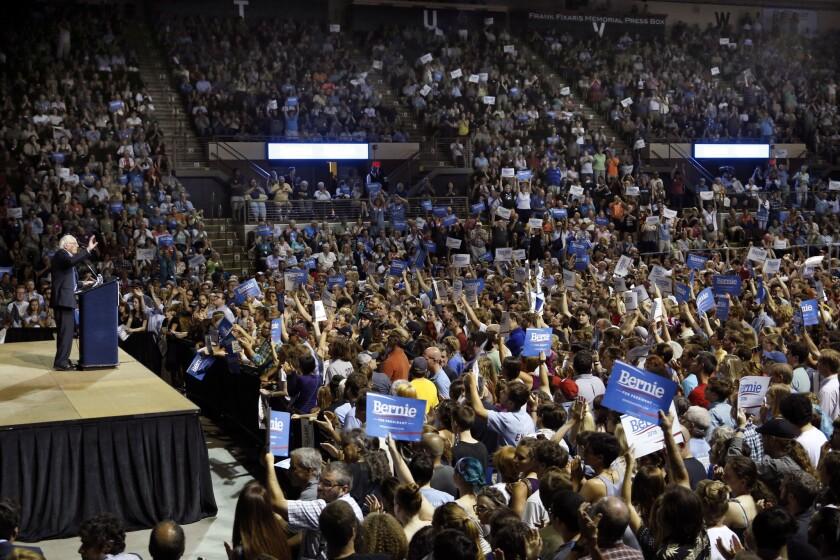 Bernie Sanders addresses his supporters