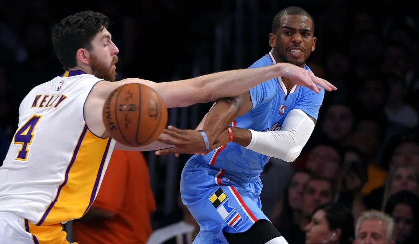Clippers point guard Chris Paul flips a pass around Lakers forward Ryan Kelly in the first half Sunday night at Staples Center.