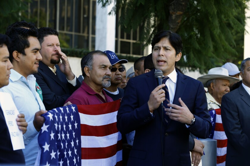 State Sen. Kevin de Leon, the top ranking Latino legislator in California, speaks at a immigration rally last November in downtown Los Angeles.