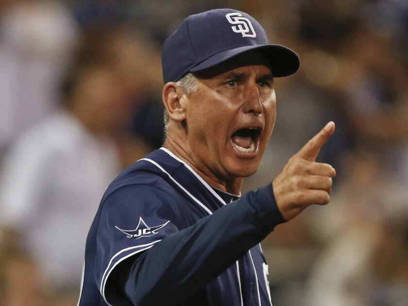 Though known mostly for his encouraging words and equanimity, Padres manager Bud Black can go into fiery mode, as he is here in expressing his thoughts before being ejected by umpire Clint Fagan.