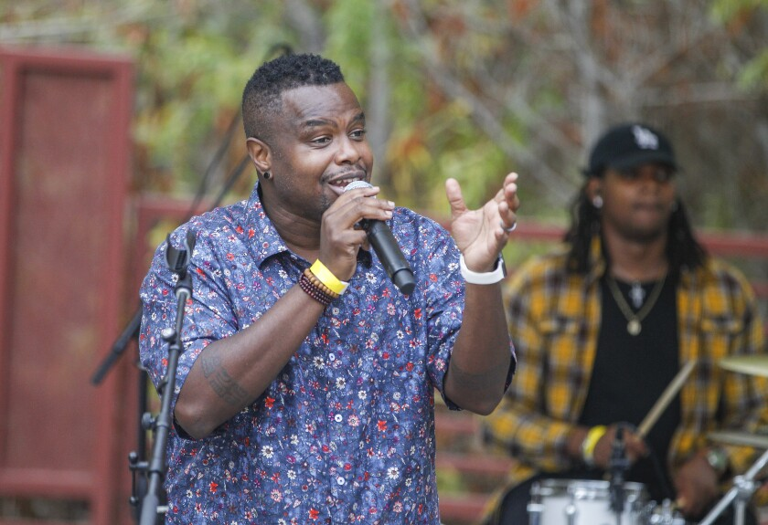 """Poet Gil Sotu performed while taping """"Be About It,"""" a virtual concert at the Jacob's Center Market Creek Amphitheatre"""