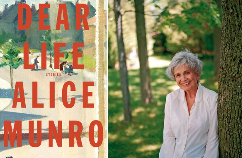Author Alice Munro and the cover of her novel, 'Dear Life.'