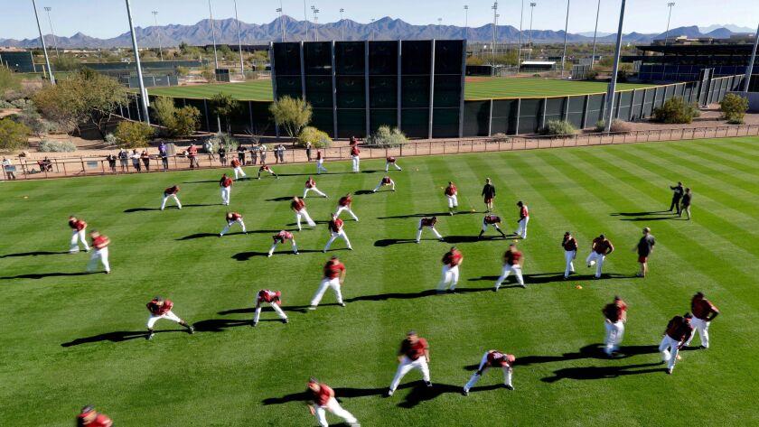 Arizona Diamondbacks players stretch during spring training baseball workouts Thursday in Scottsdale.