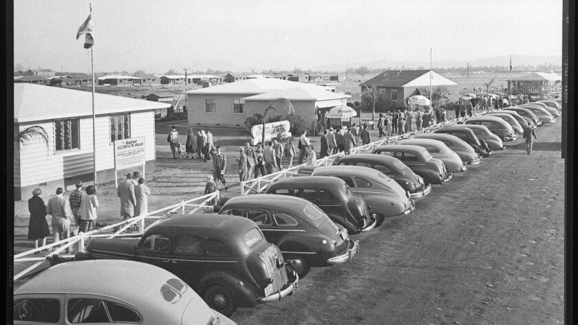 Prospective buyers tour a newly completed tract of Kaiser homes in 1948 in Panorama City. Demand was fed by ex-soldiers and their families..