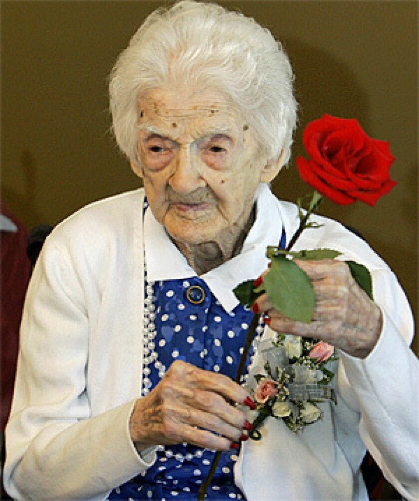 Edna Parker was photographed at her 115th birthday party in Shelbyville, Ind..